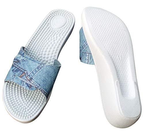 Sanitaria Damen Massage Pantolette, Badeschuh, Saunaschuh (36, weiß) (40 EU, Jeansfarbig)