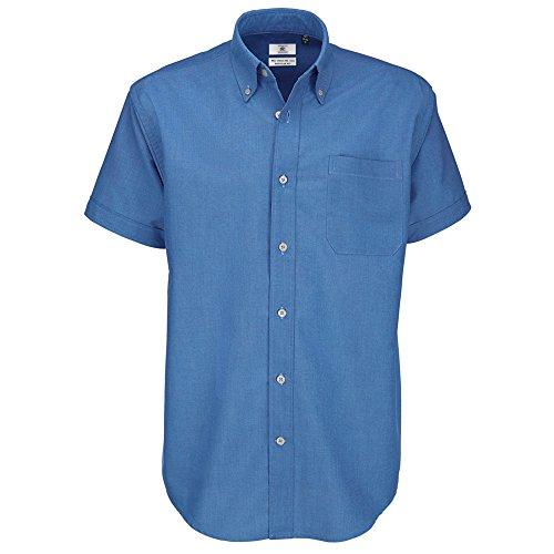 B&C Herren-Oxford-Kurzarmshirt Gr. 19.5 (Manufacturer Size:4XL), Blau (Blue Chip)