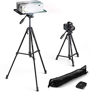 Bomaker Projector Tripod Stand & Laptop Stand, Adjustable Height 53-151cm, 360° Rotation, Multifunction Tripod Support Computers, Projectors, DJ Equipment, Pad, Cameras, Include Tray and Carry Bag