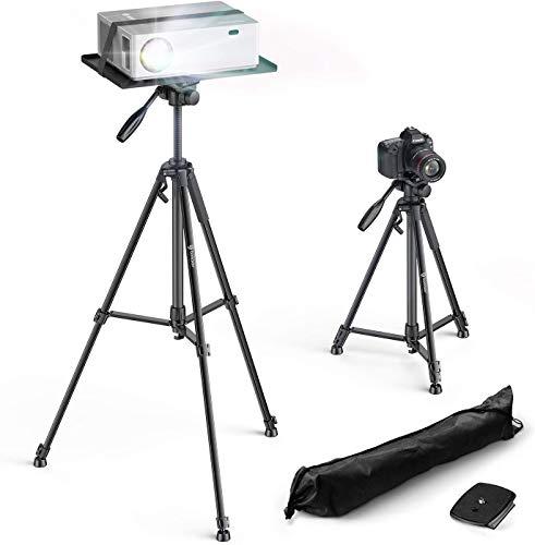 Bomaker Beamer Ständer, Multifunktionaler Beamer Stativ Universal Kamera Staitiv Aluminum Bodenständer für Laptop Ständer Tragbarer Verstellbare Höhe von 53 cm bis 151 cm mit Platte (Large)