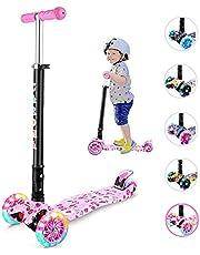 Caroma Patinete para niños, Patinete Plegable de 3 Ruedas para niños pequeños y niñas, Patinete Ajustable de 3 Alturas con Ruedas LED Intermitentes para niños de 2 a 12 años