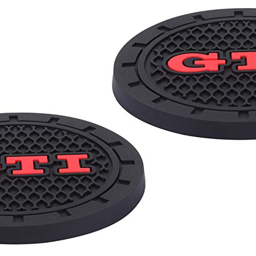 4Car4U for GTI Cup Holders Insert Coaster Automotive Accessories Silicone Anti Slip Cup Mat Fits Golf GTI Jetta Passat Arteon Tuguan Atlas Beetle Series (2.75
