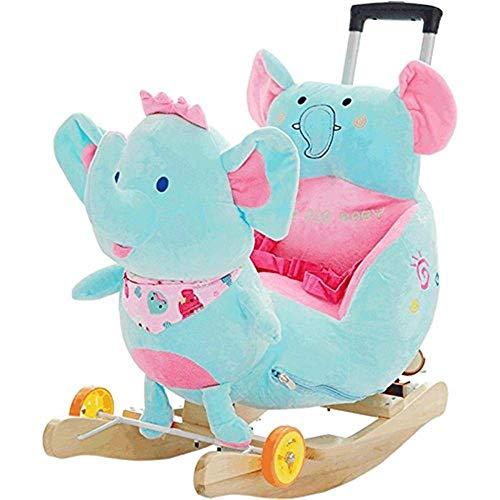 YUEZPKF Schön Schaukelstuhl Kinder Trojaner Rocking Horse Music Schaukelstuhl Baby Spielzeug Baby Geschenk 14 Jahre, 70kg Kapazität, Kinder tradit