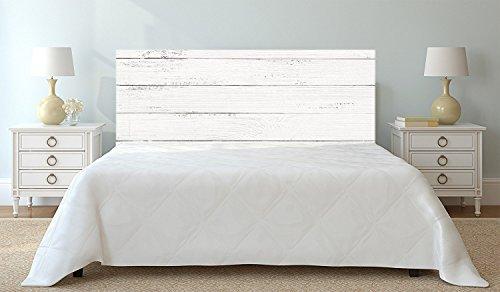Imitation Bois Blanc tête de lit Impression Numérique de 150 x 60 cm |Couleur Blanc | Disponible en différentes Tailles | Cadre de lit imprimé, léger, élégant, résistant et économique