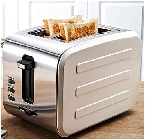 2 tostadoras, acero inoxidable Tostadora, Inicio Tostadora, 2 desayuno de ranura ancha de la máquina, Bandeja for migas desmontable, leilims Gray (Color: Rosa) RVTYR (Color : White)