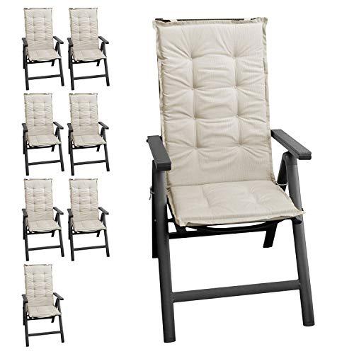 8er Set Polsterauflage Stuhlauflage Gartenstuhlauflage Sitzauflage Sitzpolsterauflage Sitzkissenpolster für Hochlehner 112x45cm - 4cm dick/beige