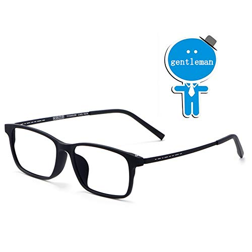 WYZQQ Blokkeerbril, blauw licht, vierkante bril voor computer, transparante lens, licht (titanium TR90), brilmontuur