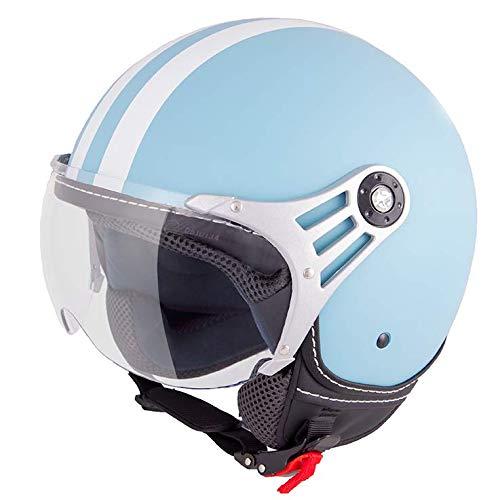 Vinz Rollerhelm, jethelm, fashion helm, scooter jethelm met strepen, in maat XS-XL | Motorhelm met vizier | ECE-gecertificeerd