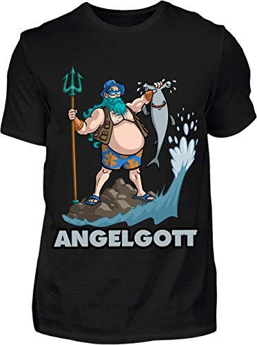 T-Shirt Herren Lustig Angelgott - Kurzarm Shirt Baumwolle mit Motiv Aufdruck - Hobby Freizeit Fun Angel Fisch Angler Angeln (4XL, Schwarz)
