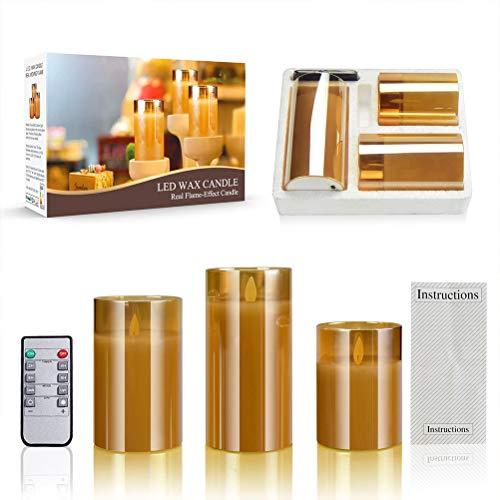 Ledkaarsen in glas met timer goud vlamloze kaarsen 3 stuks glazen windlichten met afstandsbediening warmwit flikkerend licht op batterijen