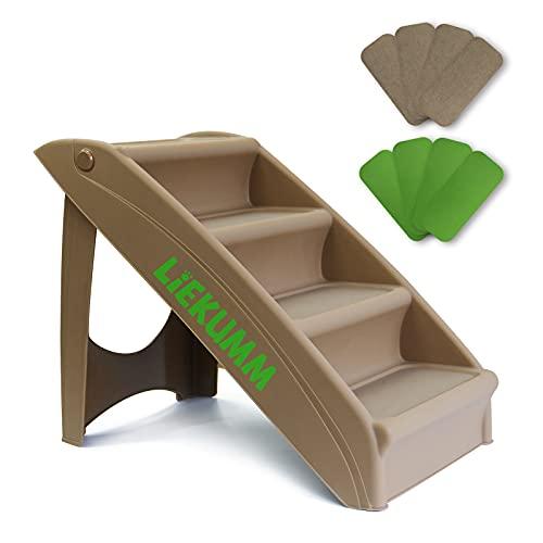 LIEKUMM Escalera plegable de plástico para mascotas con juego de 2 alfombras lavables, 4 peldaños, capacidad para hasta 54 kg (BODA03KS)