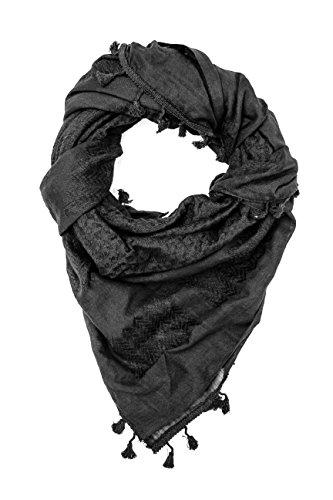 Hirbawi Hochwertiger arabischer Schal, 100 % Baumwolle, Shemagh Keffiyeh, 119,4 x 119,4 cm, arabischer Schal, hergestellt in Palästina - Schwarz - Einheitsgröße