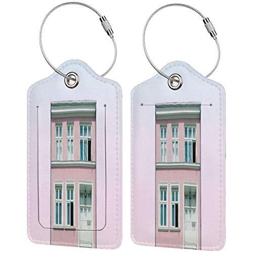 FULIYA - Juego de 2 etiquetas de cuero para maletas, identificador de viaje para bolsos y equipaje, para hombres y mujeres, edificio, fachada, rosa, arquitectura, minimalismo