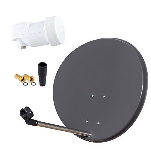 HB Digital SAT-Anlage Set - Skymaster SAT Anlage 60cm Spiegel Schüssel Anthrazit + Single LNB zum Empfang von DVB-S/S2 Full HD 3D Ultra HD (UHD) Signale + 2 VERGOLDETE F-Stecker und 1 Gummitülle
