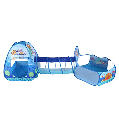 LANHA Play Tents Tunnel, Pop Up Play Tents, Kids Tent and Crawl Tunnel Combo for Boys, Girls, Indoor/Outdoor Playhouse - Blue
