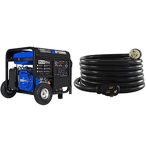 DuroMax XP13000E Generator, Blue/Gray & Conntek 1450SS2-15 50 Amp Temp Power Generator Cord, 15 Feet, Black