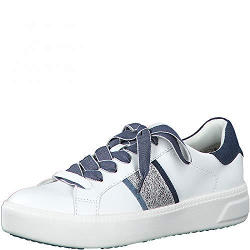Tamaris Damen Low-Top Sneaker, Frauen Halbschuhe,Touch It-Fußbett,schnürschuhe,schnürer,Halbschuhe,straßenschuhe,White/Jeans,40 EU / 6.5 UK