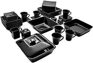 10 Strawberry Street Nova Square Banquet 45-Piece Dinnerware Set (Black)
