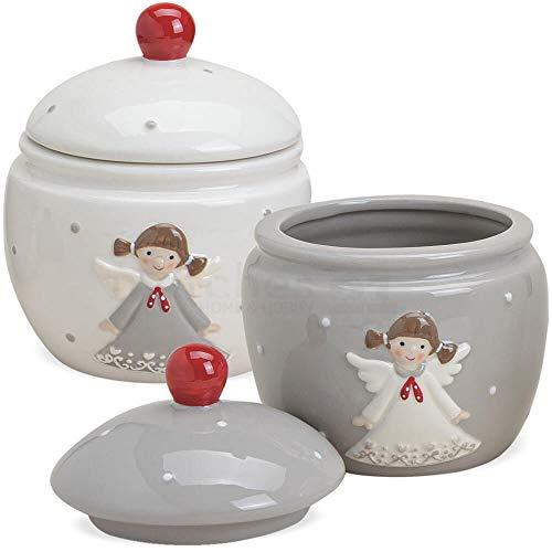 matches21 Plätzchendosen Engel Dosen Keramikdosen Keksdosen Weihnachten Keramik grau & weiß 2er Set Ø 15x12 cm