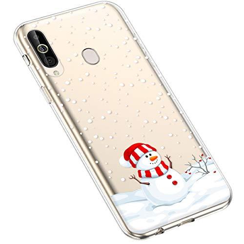 Uposao Kompatibel mit Samsung Galaxy A60 Silikonhülle Christmas Durchsichtig Weiche TPU Handytasche Transparent Ultra Dünn Klar Crystal Clear Bumper Backcover,Dekorativer Schneemann