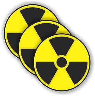 JS Artworks Nuclear symbol funny hard hat/helmet vinyl decal sticker 3 PACK