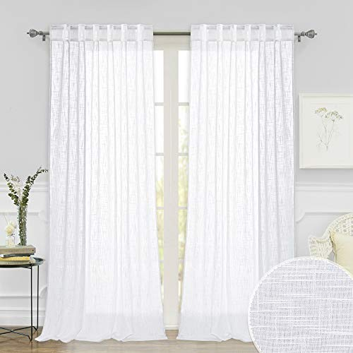 RYB HOME White Curtains Sheer - Linen Texture Semi Sheer Window Covering, Light & Airy Privacy Sheer Panels for Bedroom Living Room Patio Glass Door, 52 inch Width x 95 inch Length, Set of 2