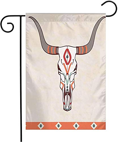 MJSTAR Garden Flag Welcome Decorations Geometric with Ox Design Cattle Western West Bull Aztec Tattoo Skull Ornament Abstract Textures Outdoor Vertical Double Sided Polyester Flag 12' x 18'
