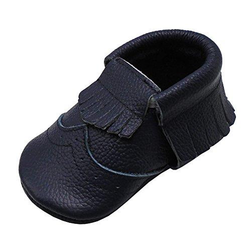 Mejale Chaussons en cuir à semelle souple pour bébé - - Bleu marine 2., 23/24 EU