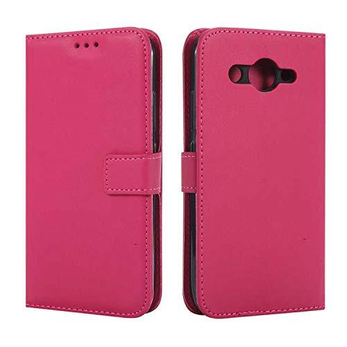 DENDICO Huawei Y3 2017 Hülle, Premium Leder Flip Handyhülle Schutzhülle, Wallet Tasche Brieftasche im Bookstyle mit Standfunktion - Hot Pink