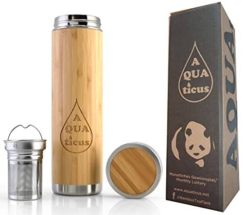 AQUAticus Teeflasche Bambus-Thermoflasche 500 ml Teeflasche mit Sieb to go Thermobecher to go auslaufsicher Edelstahl Für Früchte Tee Zero Waste Produkte Travel Mug