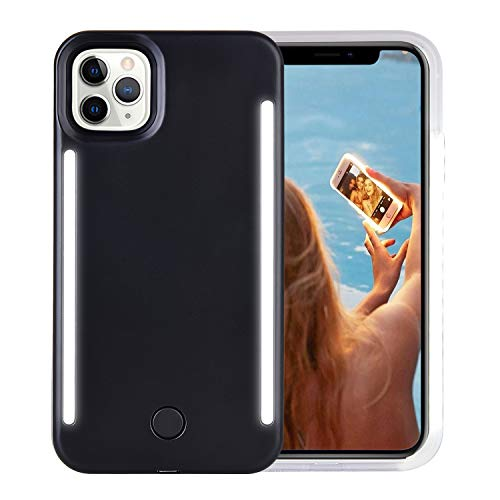Wellerly iPhone 11 Pro Max Case, LED Illuminated Selfie Light Up [Rechargeable] Luminous Flashlight Cellphone Case Cover for iPhone 11 Pro Max - Black
