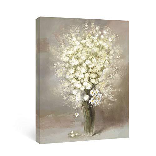 SUMGAR Stampa artistica da parete con fiori in stile astratto, beige, gypsophila, margherite, fiori,...