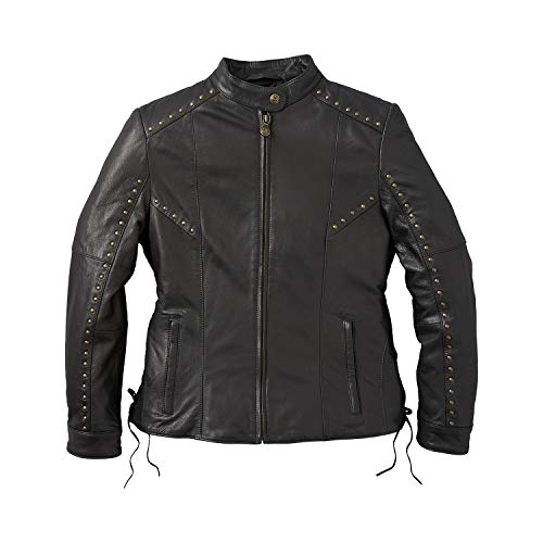 Indian Motorcycle Women's Casual Leather Adeline Jacket with Studs and Lace Detail, Black - XS