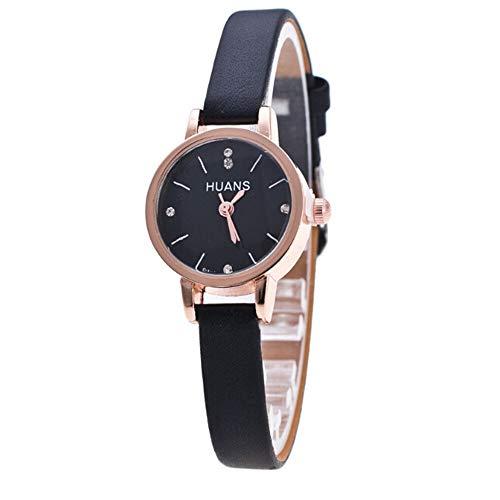 WYHM Reloj para Mujer Señoras Lujo de la Marca del Diamante del Reloj de Pulsera Mujeres con Estilo de Vestir Rosa Negro Fina Correa de Pulsera Relojes Preciso (Color : H)