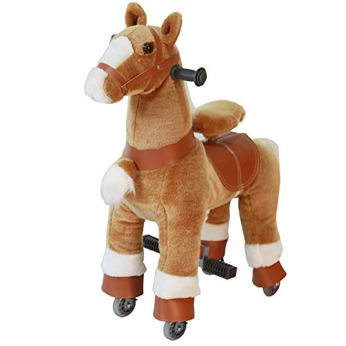 Ride On Horse Rocking House Natural Mechanical Real Walking Horse Unicorn Horse Small for Age 3-6 (Brown, 3-6Years)