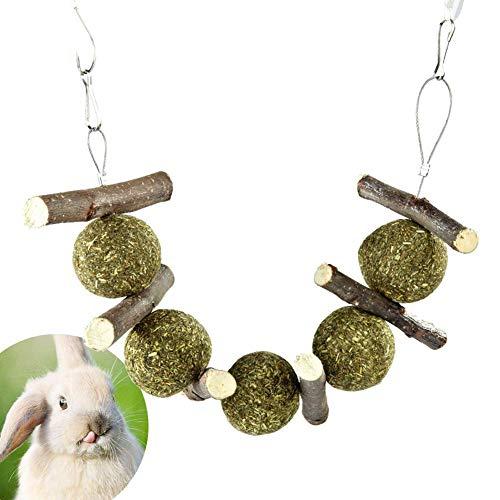 Honey MoMo Kauspielzeug für kleine Haustiere, Kaninchen, Zahnreinigung, Apfelstäbchen, Gras, Heuball, Kauspielzeug – Holzfarbe