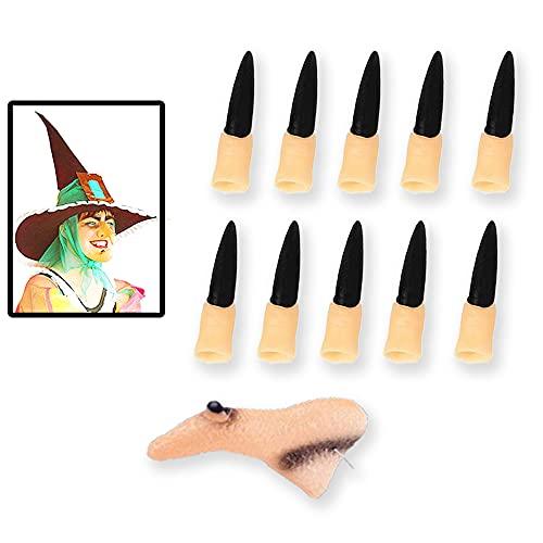 1 nariz de bruja,10 uñas de bruja,disfraces de Halloween,disfraces de brujas,accesorios de brujas,disfraces de fiesta de cosplay de Halloween,adecuados para Halloween,fiestas de disfraces