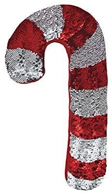 Candy Cane Shaped Reversible Sequin Holiday Throw Pillow