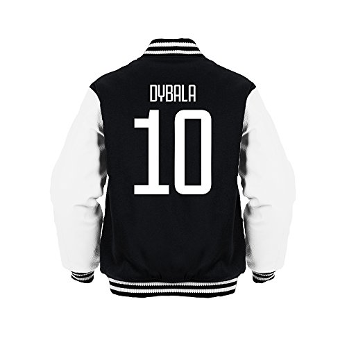 Paulo Dybala 10 Club Player Style Kids Varsity Jacket Black/White/White, Medium Boys (7-8yrs)