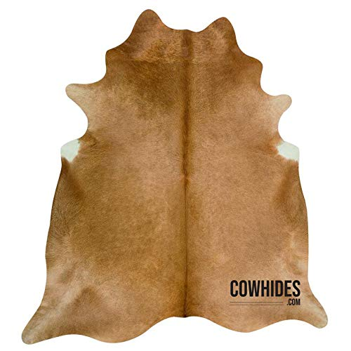 Natural Cowhide Area Rugs Solid Beige (Large - 6.5 FT x 7.5 FT)