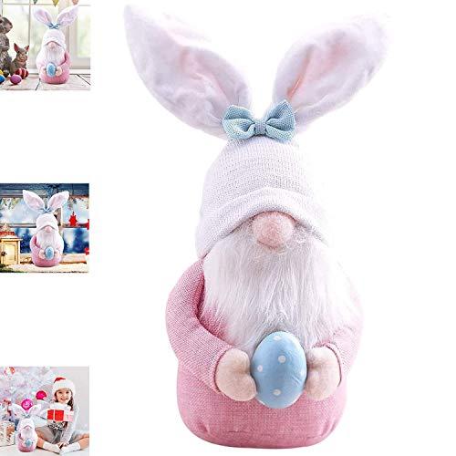ZXCVBN Huevos De Pascua Conejito Gnomo Colorido Enano Muñeca Sin Rostro con Huevo De Pascua Sosteniendo Sombrero Gnomos De Pascua Conejo Pascua Decoración del Hogar 2 Piezas/Rosa