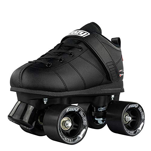 Crazy Skates Rocket Roller Skates - Quad Skates for Men and Women - Black (Mens 11 / Ladies 12)