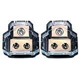 RKURCK 2 Way Power Distribution Block, 0/2/4 AWG Gauge in, 4/8/10 Gauge Out, Car Audio Stereo Amp Ground Distributor Connecting Block for Car Audio Amplifier Splitter (1 in 2 Out) 2 Pack