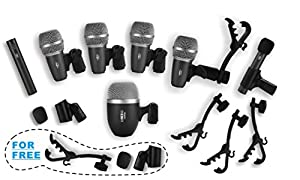 Heimu Wired Drum Microphone Kit for Drum and Other Musical Instruments (A whole set)
