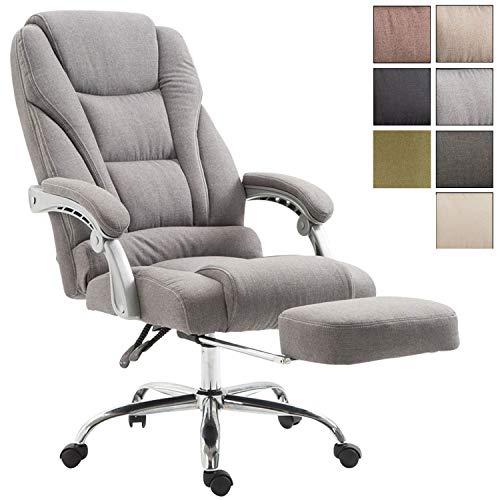 CLP Fauteuil De Bureau Pacific en Tissu Pivotant I Chaise de Bureau Ergonomique Hauteur Réglable Repose-Pied Et Accoudoirs Gris