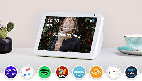 Echo Show 8, Zertifiziert und generalüberholt, Sandstein Stoff – Smart Display mit 8 Zoll großem HD-Bildschirm und Alexa