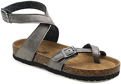 OUTWOODS BORK 39 Womens Vegan Leather Sandals (9, Pewter)