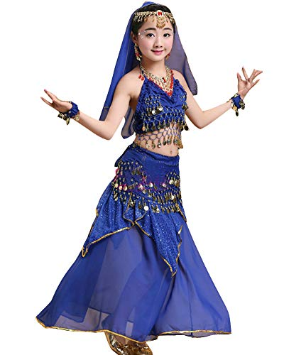 Kinder Mädchens Damen Tanzkleid Top Rock Indische Bauchtänzerin Kostüme Saphirblau XL Höhengeeignet 135-150CM