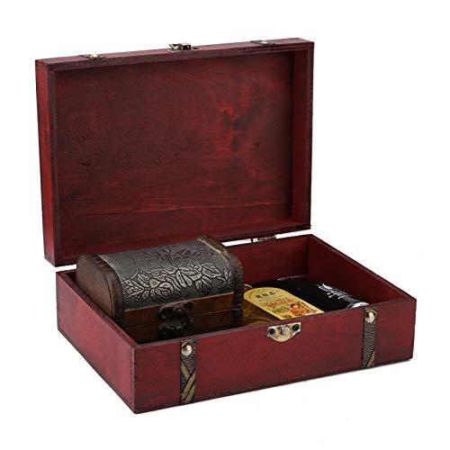 Fydun Caja de Almacenamiento de Madera, Caja Decorativa de joyería Vintage para el Organizador de artículos Vivos del Estante del Armario de la Oficina en casa