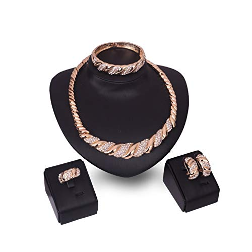 SFQRYP Explosion Models Jewelry Set Europe and America Fashion Boasting Water Drill Jewelry Set Bracelet Ear Ring neckrene Jewelry Set Four-Piece Set Diamond (Color : One Size)